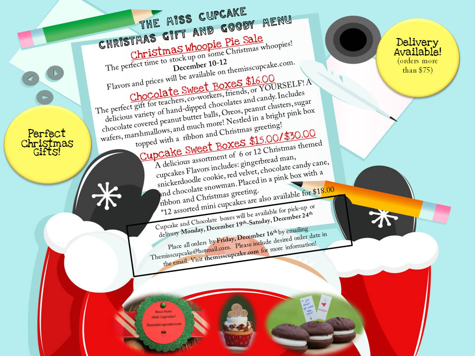 The Miss Cupcake Christmas Flyer